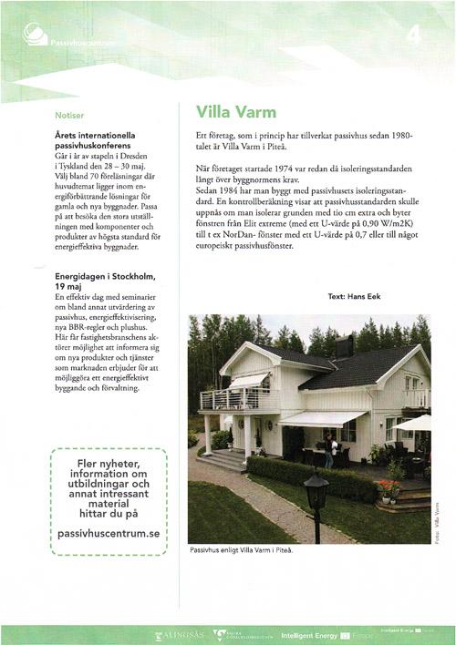 Villa Varm uppmärksammas i nyhetsbrev från Passivhuscentrum